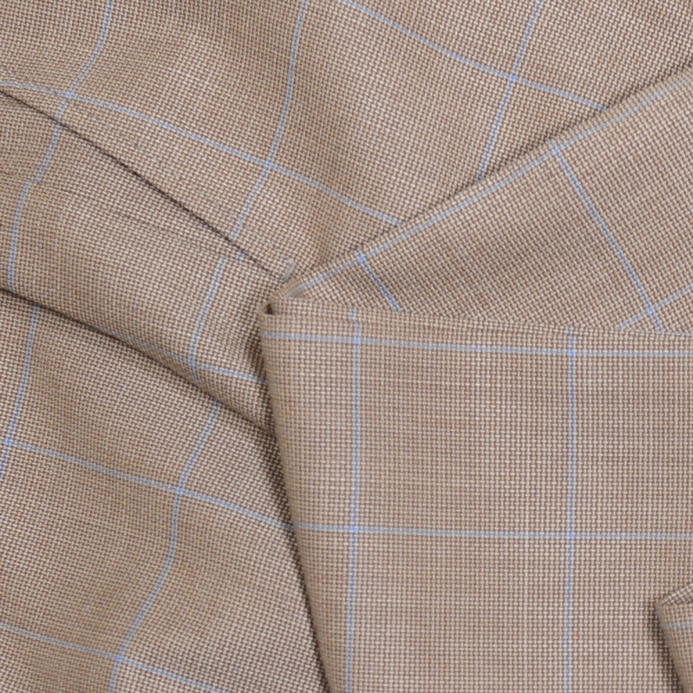 Windowpane Wool Pants - Tan and Blue