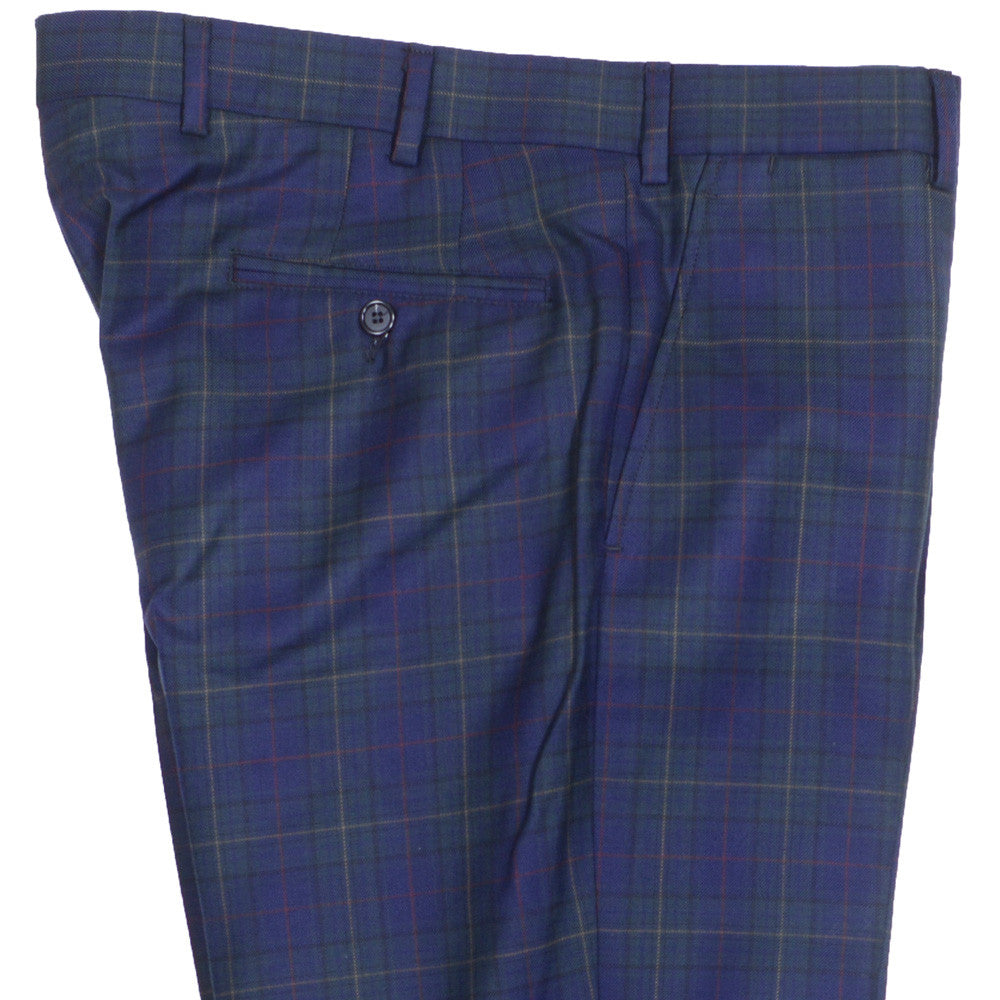 Navy and Green Plaid Wool Pants