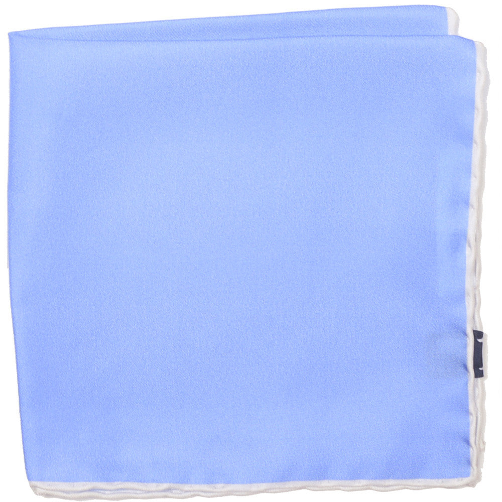 Silk Contrast Edge Pocket Square - Blue and White