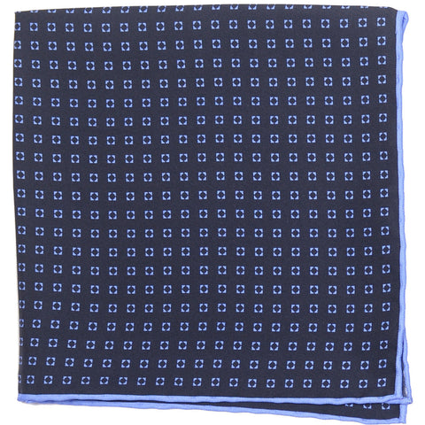 Silk Neat Circle Square - Navy and Blue