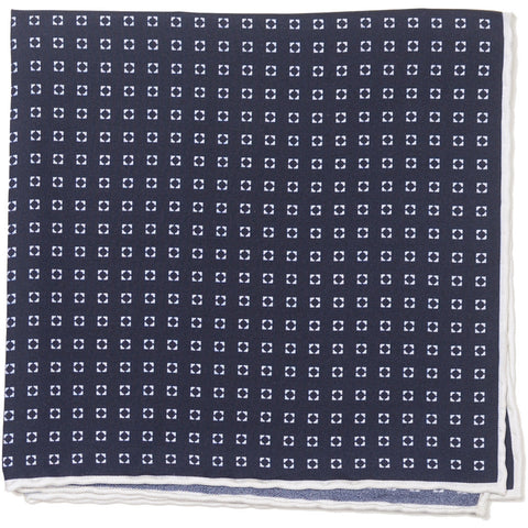Silk Neat Circle Square - Navy and White