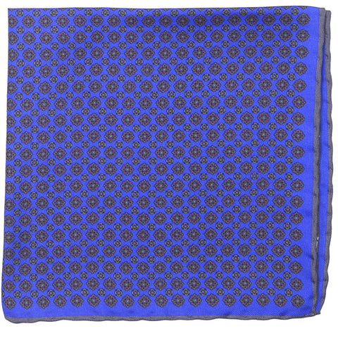 Silk Neat Square - Bright Blue and Gray