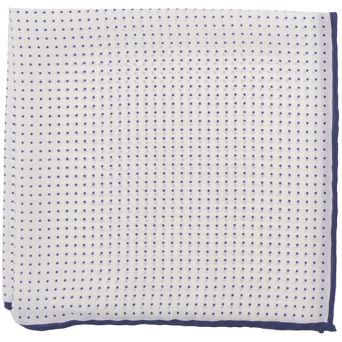 Silk Pindot Pocket Square - White and Navy