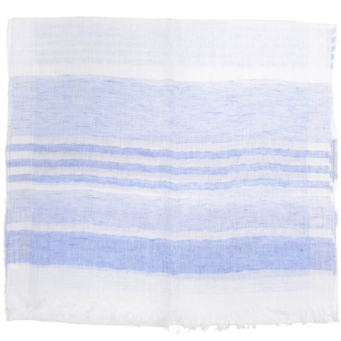 Stripe Linen Scarf - White and Blue