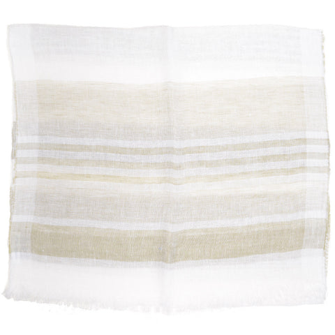 Stripe Linen Scarf - White and Tan