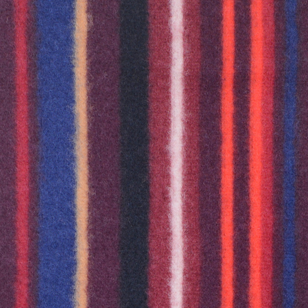 Washed Wool Stripe Scarf - Burgundy