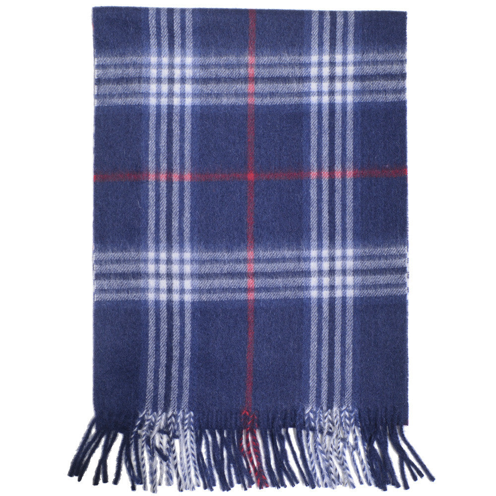 Wool and Cashmere Plaid Scarf - Blue
