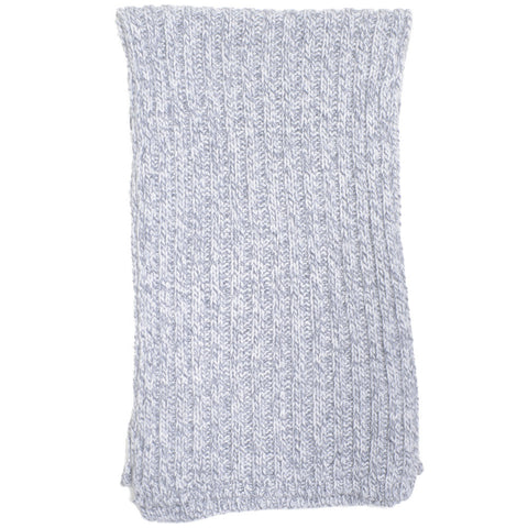 Cashmere Ribbed Knit Wool Scarf - Gray