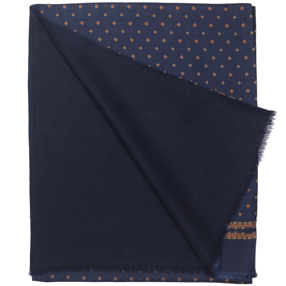 Silk Wool Tubular Scarf - Neat Blue
