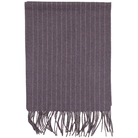 Pinstripe Wool Scarf - Brown