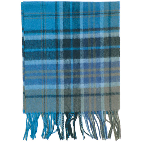 Plaid Wool Scarf - Green and Blue