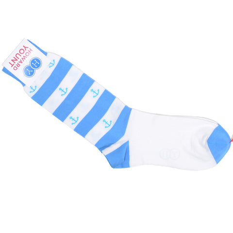Anchor Stripe Cotton Calf Socks - Light Blue