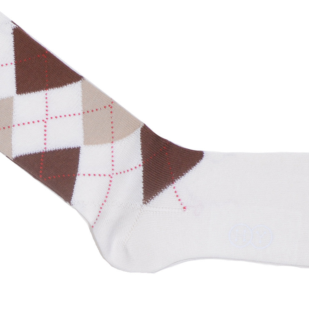 Argyle Cotton Calf Socks - Cream, Brown