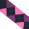 Argyle Cotton OTC Socks - Black and Pink