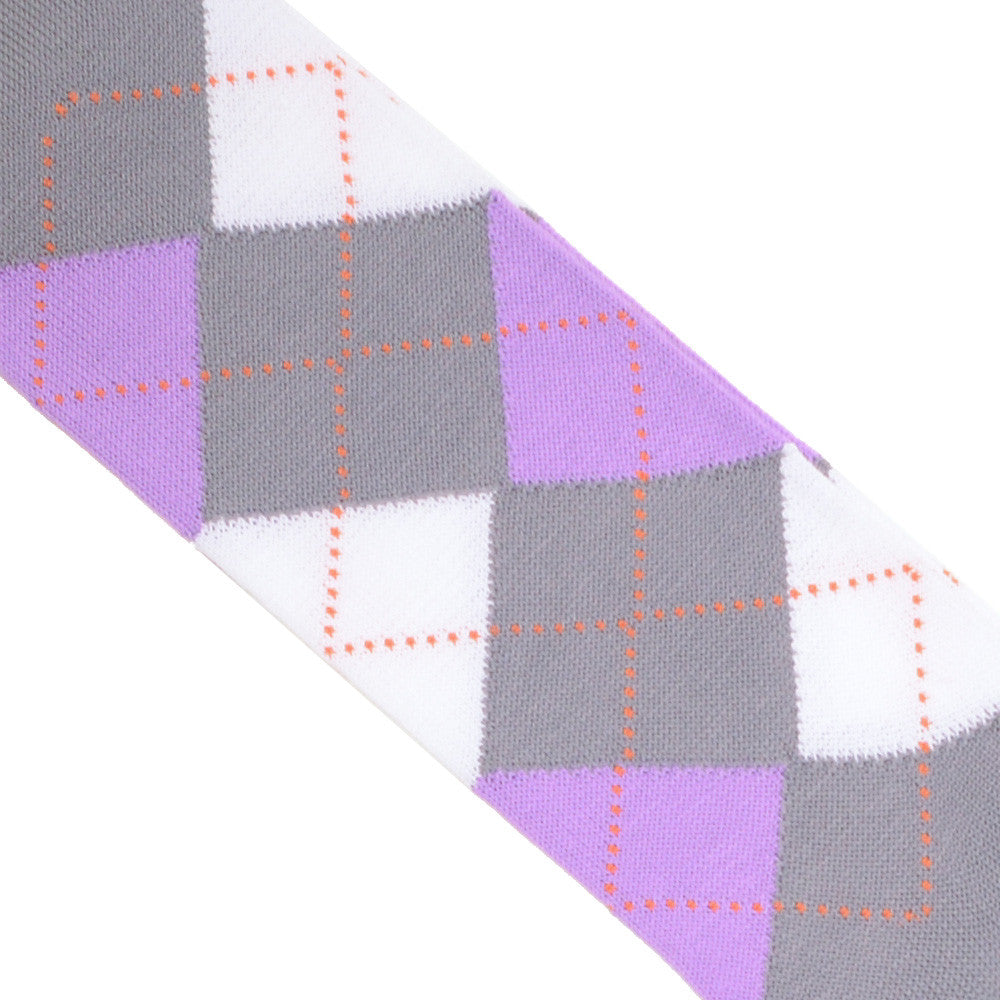 Argyle Cotton OTC Socks - Gray, Pink, and White