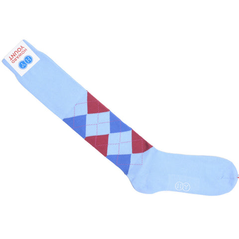 Argyle Cotton OTC Socks - Light Blue, Red, and Blue