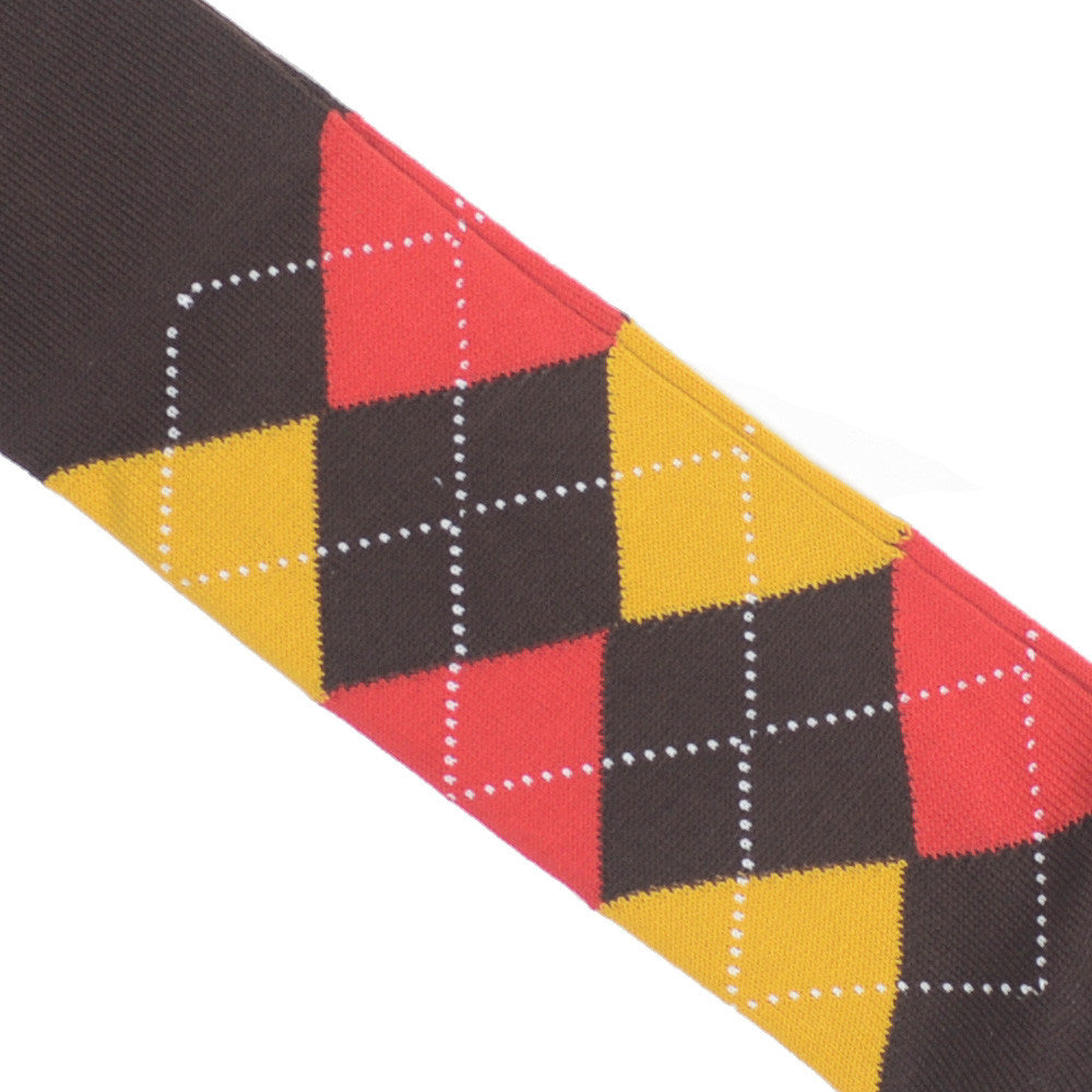 Argyle Cotton OTC Socks - Brown, Gold, Red