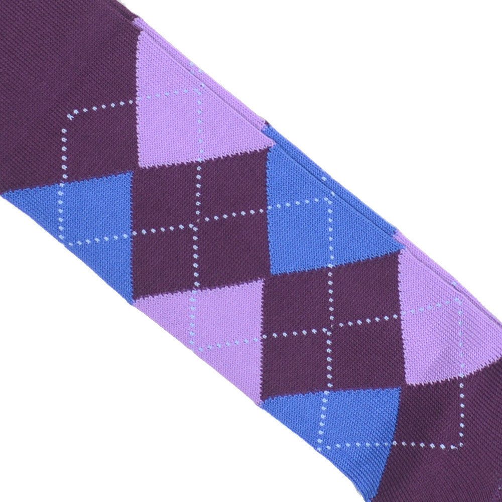 Argyle Cotton OTC Socks - Plum, Blue, and Pink