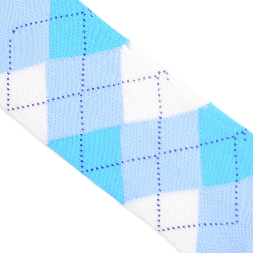 Argyle Cotton OTC Socks - Light Blue, Cream, Purple