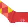 Argyle Cotton OTC Socks - Red, Yellow, Peach