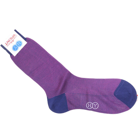 Herringbone Cotton Calf Socks - Purple and Fuchsia