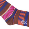Multicolor Stripe Cotton OTC Socks - Brown
