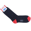 Multicolor Dot Cotton Calf Socks - Navy and Red