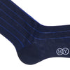 Pinstripe Cotton Calf Socks - Navy
