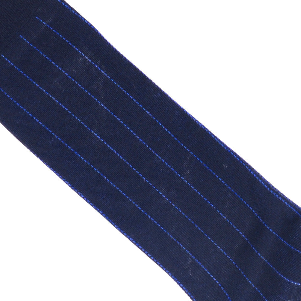 Pinstripe Cotton OTC Socks - Navy