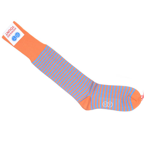 Quarter Inch Stripe Cotton OTC Socks - Orange and Blue