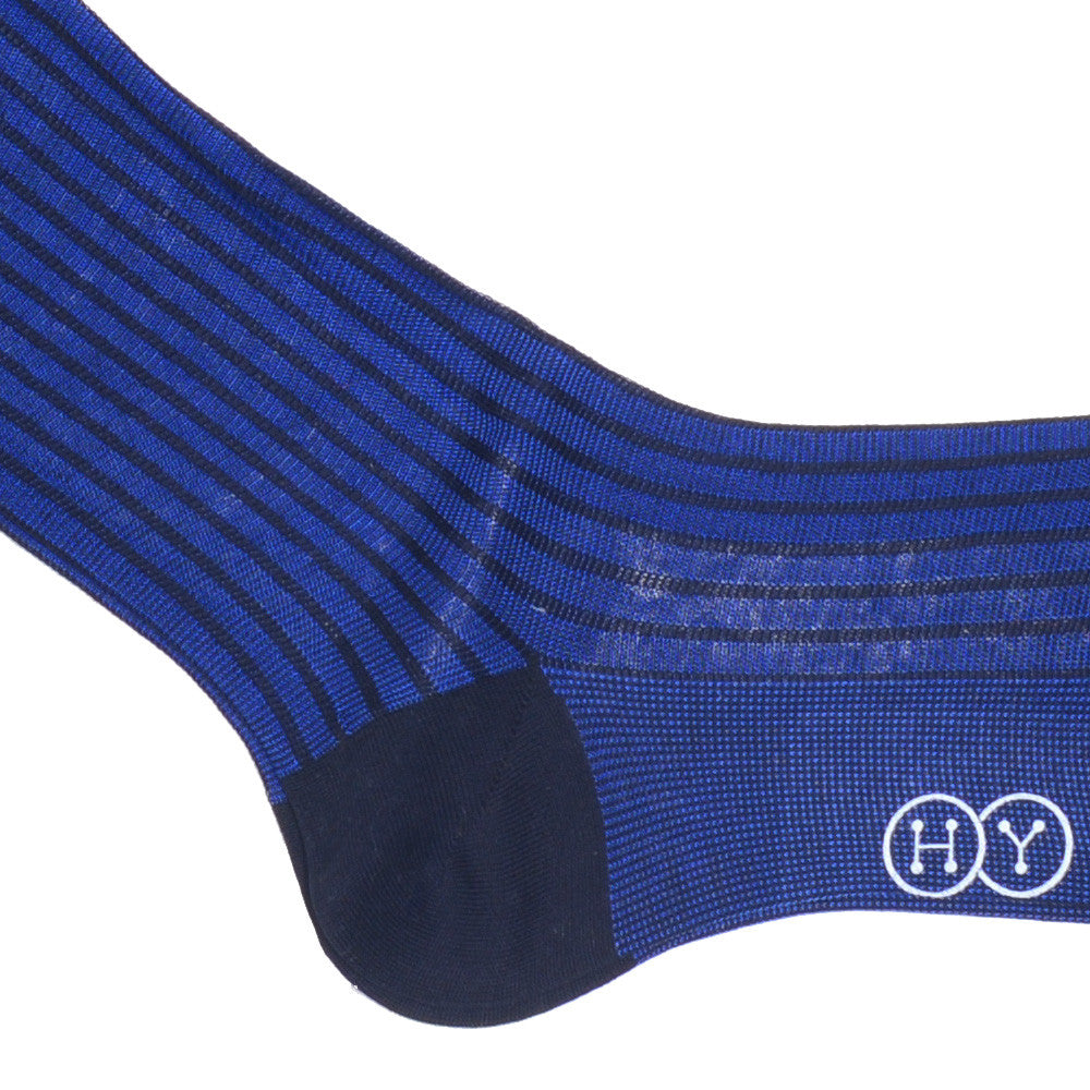 Two Color Ribbed OTC Socks - Navy