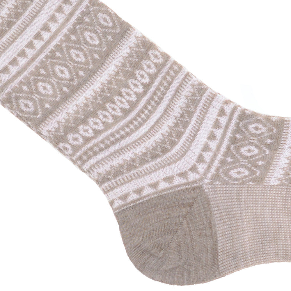 Fair Isle Wool Socks - Tan