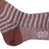 Stripe Cotton Linen OTC Socks - Brown