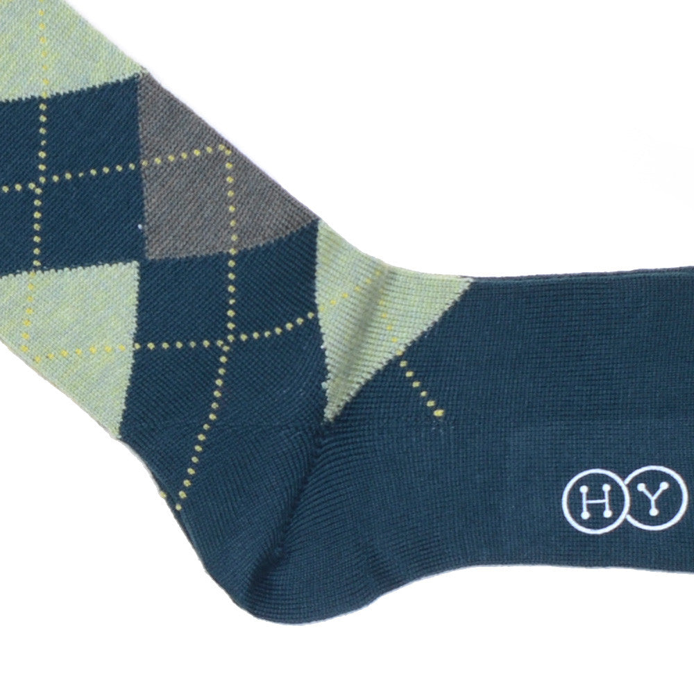 Argyle Wool Calf Socks - Green