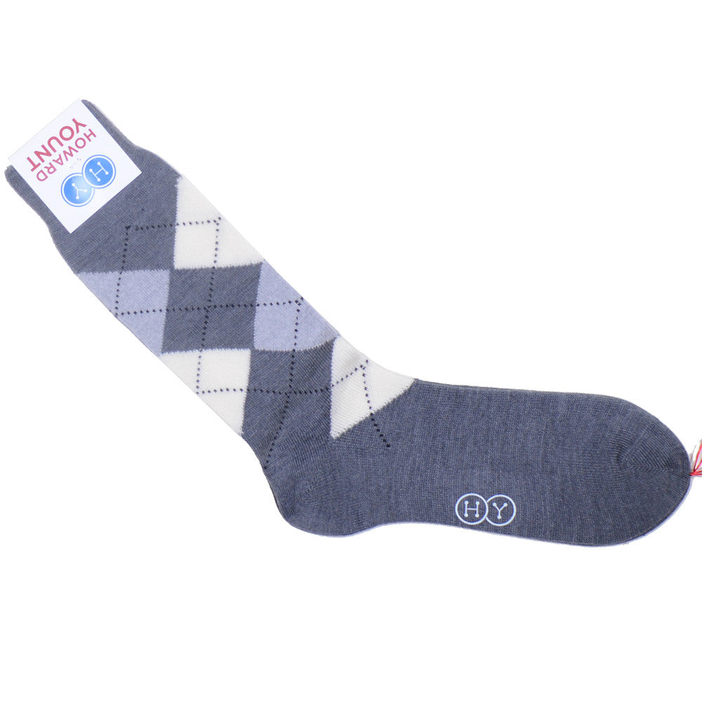 Argyle Wool Calf Socks - Gray and White