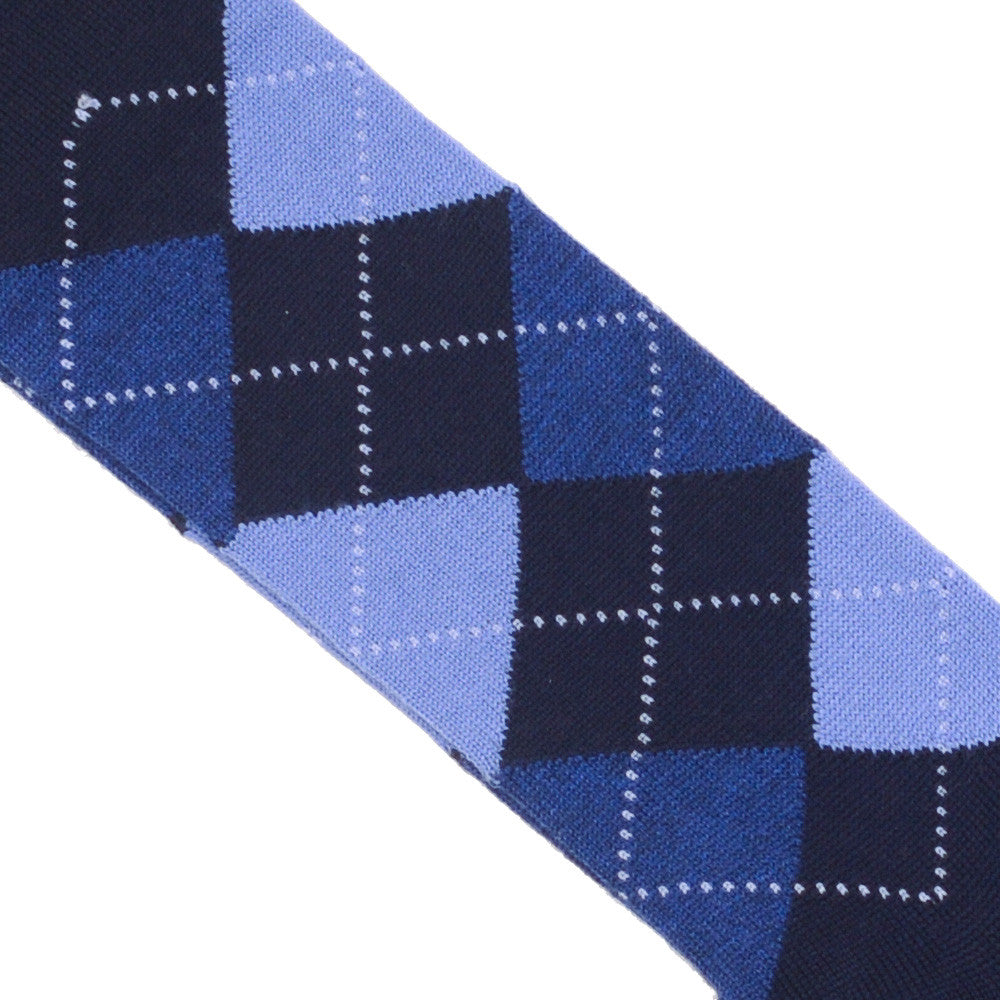 Argyle Wool Calf Socks - Navy