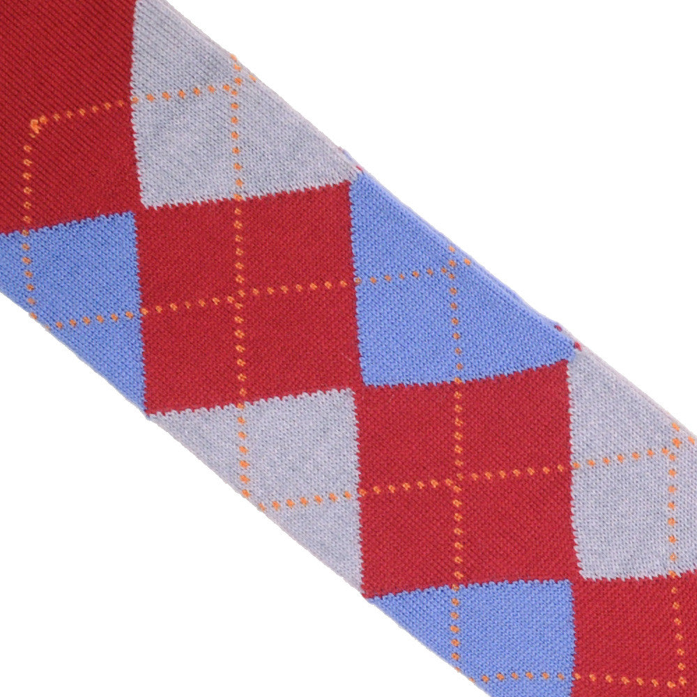 Argyle Wool Calf Socks - Red, Blue, and Gray