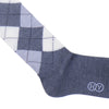 Argyle Wool OTC Socks - Gray and White