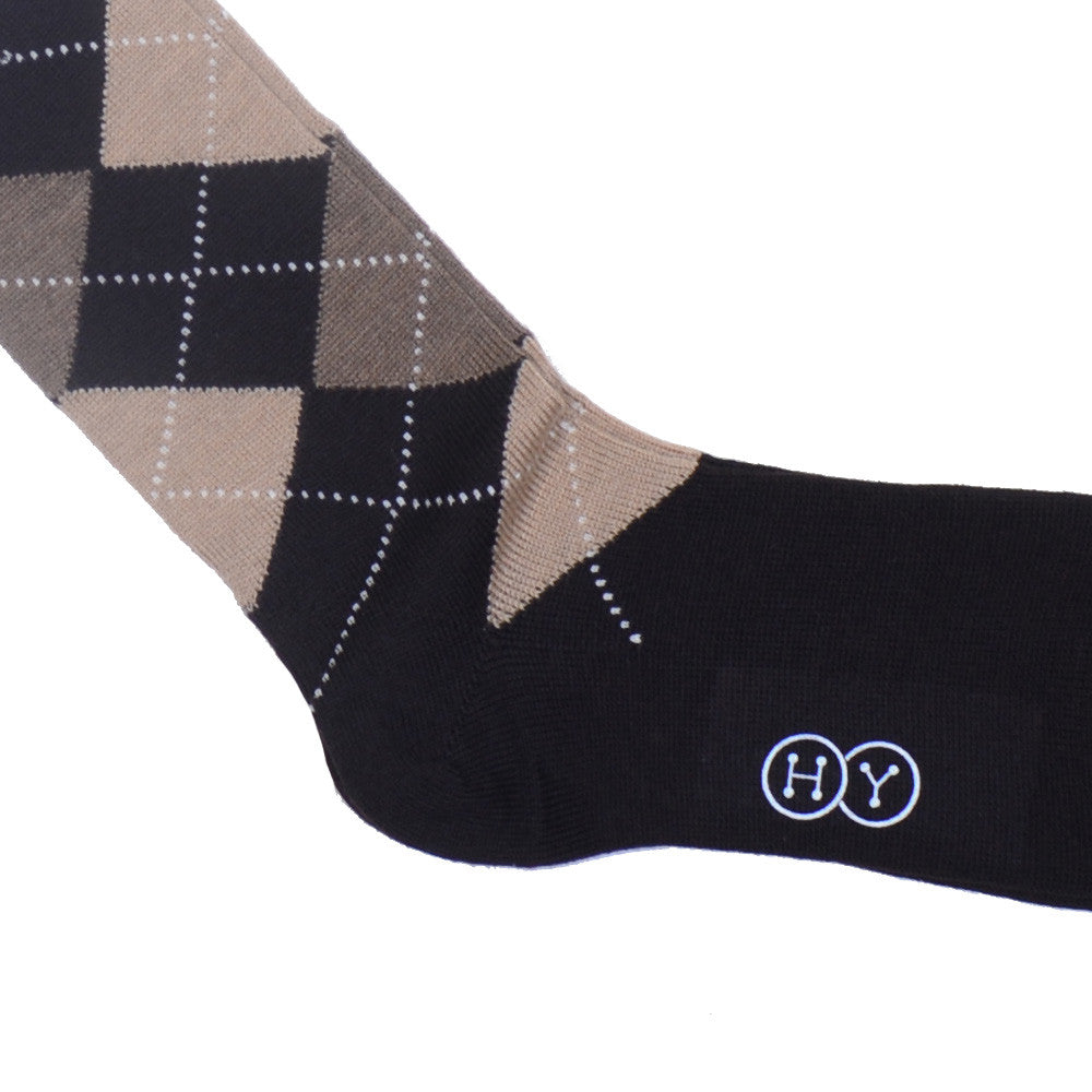 Argyle Wool Calf Socks - Brown, Tan