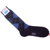 Argyle Wool Calf Socks - Burgundy, Blue, Gray