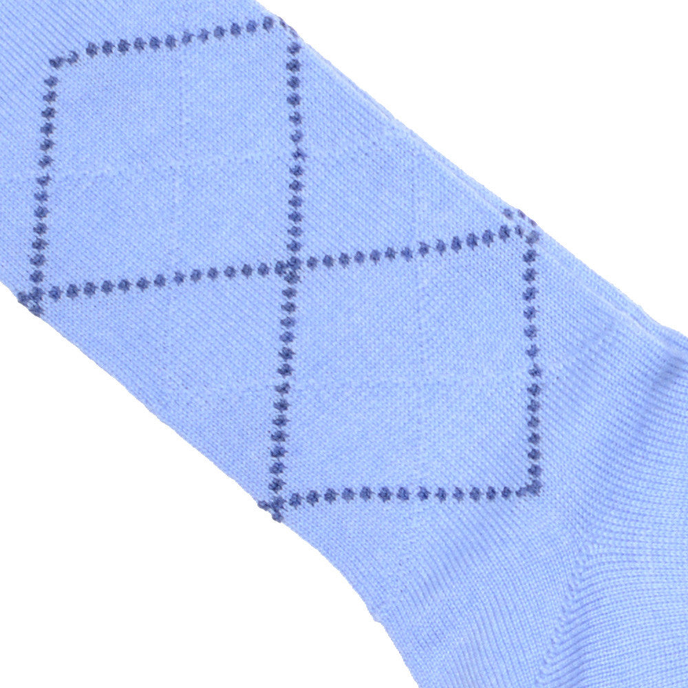 Diamond Wool Calf Socks - Light Blue