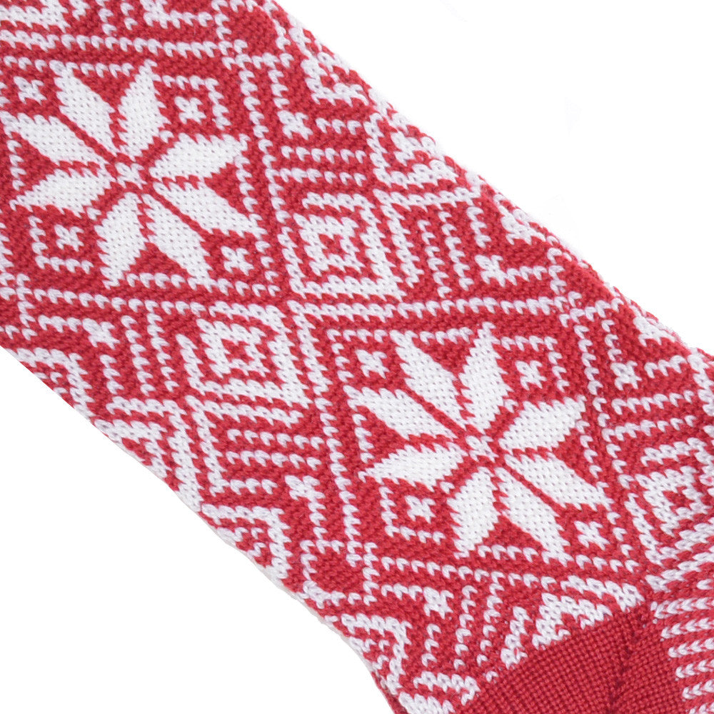 Fair Isle Wool Socks - Red