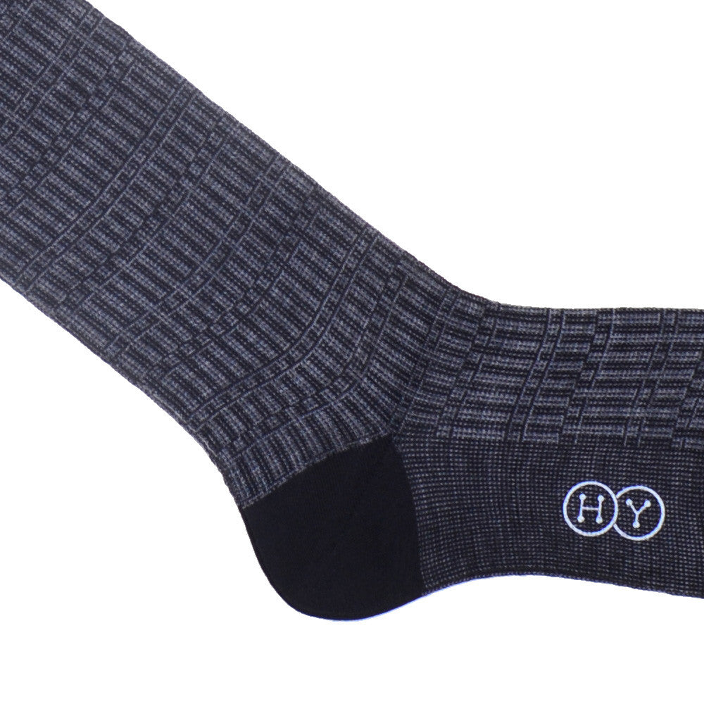 Rectangle Jacquard Wool OTC Socks - Charcoal