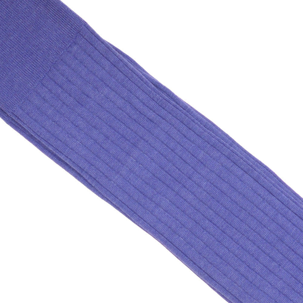 Ribbed Wool Calf Socks - Violet