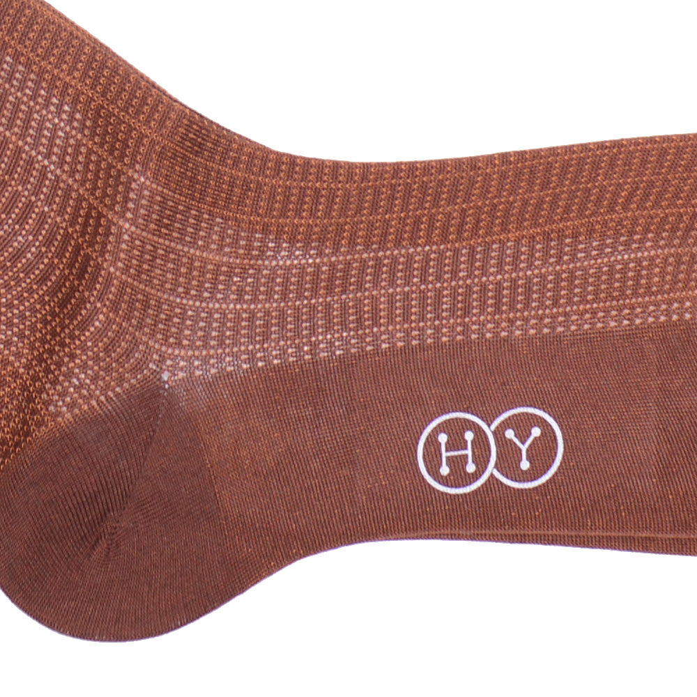 City Grid Cotton Calf Socks - Brown and Orange