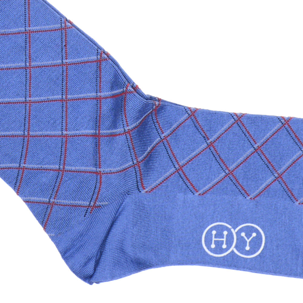 Double Diamond Cotton OTC Socks - Blue