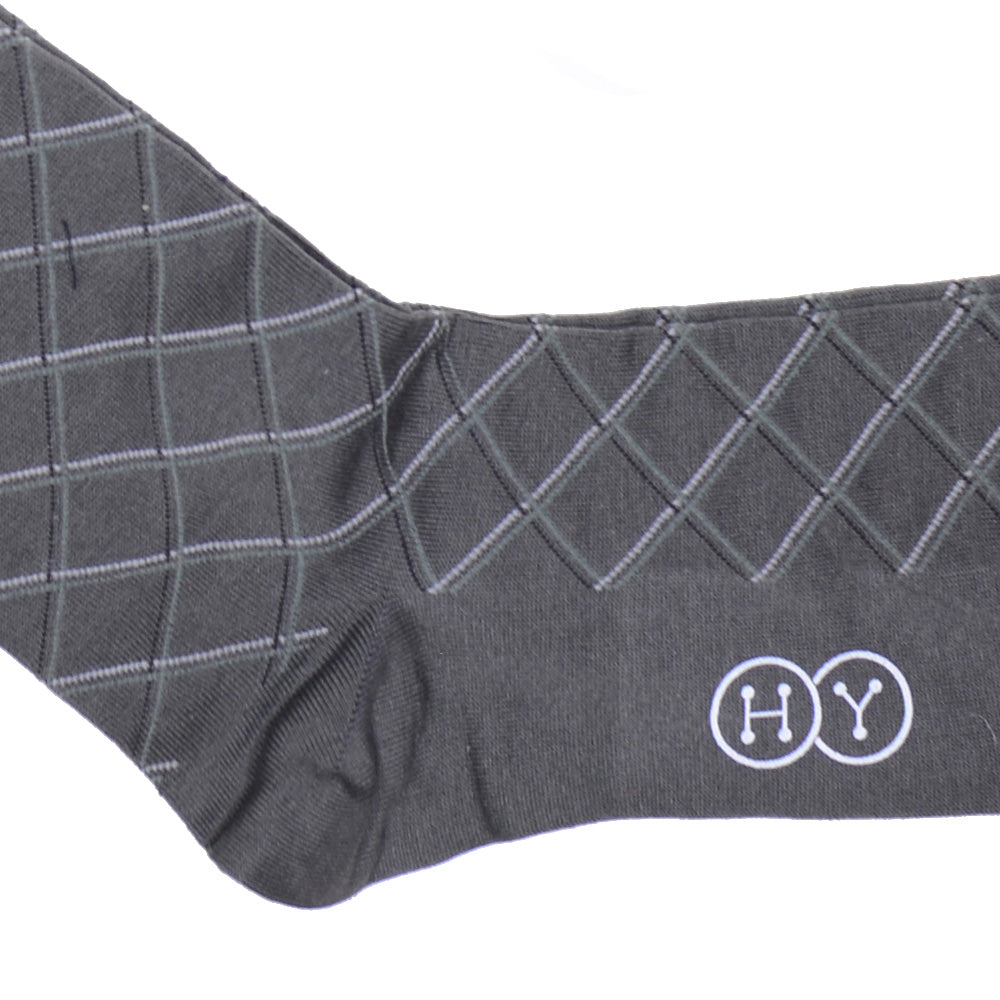 Double Diamond Cotton OTC Socks - Gray