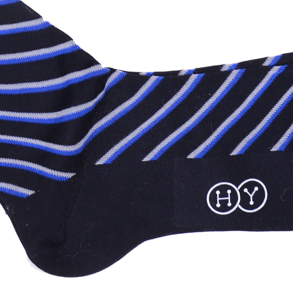 Double Stripe Cotton OTC Socks - Navy