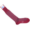 Double Stripe Cotton OTC Socks - Red