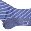 Double Stripe Cotton Calf Socks - Gray and Blue